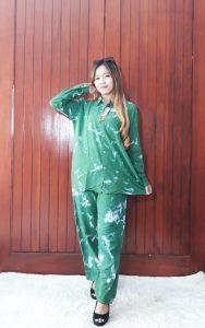 Baju One Set Tie Dye Shibori Rayon Panjang