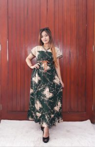 Baju Sackdress Batik Renda Panjang Kombinasi Brokat