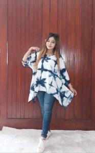 Blus Batik Sayap Shibori Santung Jumputan