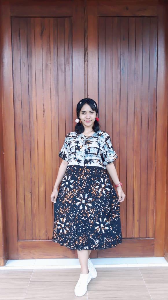 Daster Batik Lengan Pendek Model A-Line Modern
