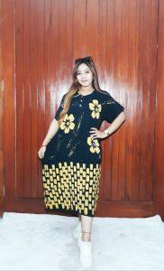 Daster Jumbo Hitam Lengan Pendek Batik Ibu