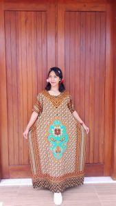 Long Dress Batik Lengan Pendek Ratu Busana