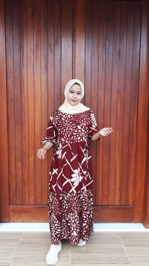 Long Dress Canda Susun Lengan 3/4