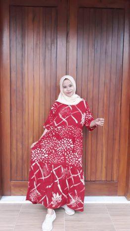 Longdress Batik Canda Susun Lengan 3/4