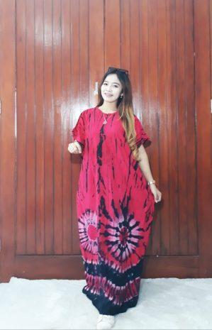 Longdress Batik Kelelawar Lengan Pendek Rayon Twill