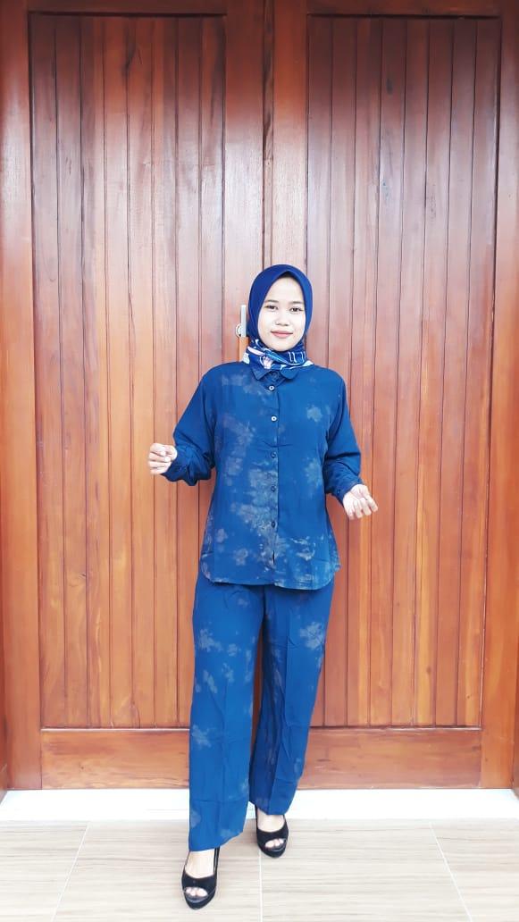 One Set Tie Dye Lengan Celana Panjang Polos