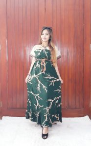 Sack Dress Batik Renda Panjang Kombinasi Brokat