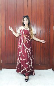 Sack Dress Batik Renda Panjang Kombinasi Brokat