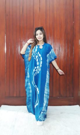 Long Dress Kelelawar Batik Cendana Bahan Santung