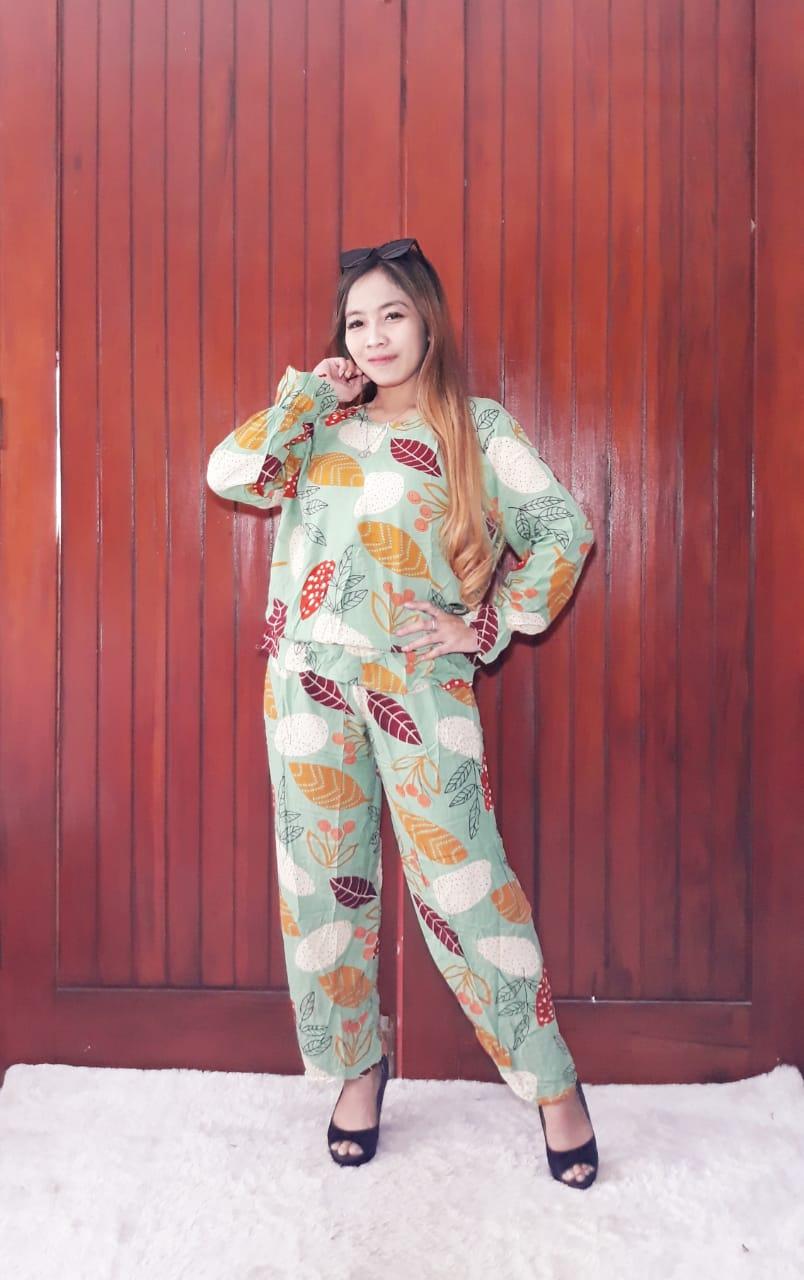 One Set Model Balon Baju Tidur Piyama Panjang