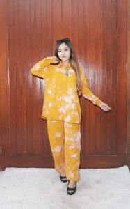 One Set Tie Dye Jumputan Celana Lengan Panjang