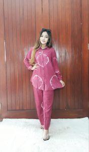 One Set Tie Dye Jumputan Modern Kerah WFH