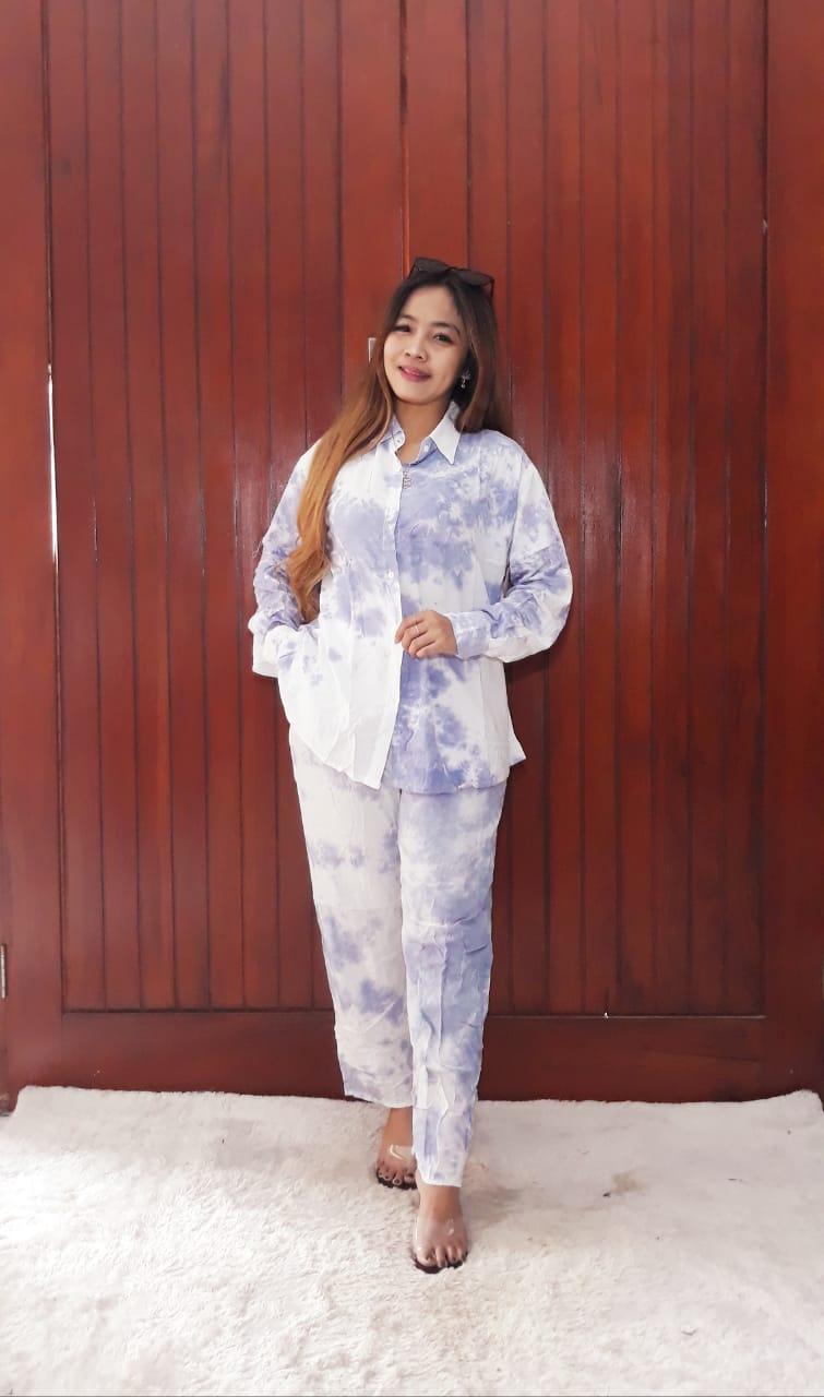 One Set Tie Dye Jumputan Modern Setelan Panjang
