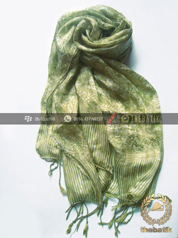 Silk Batik Scarf Indonesia Handmade Flower Art