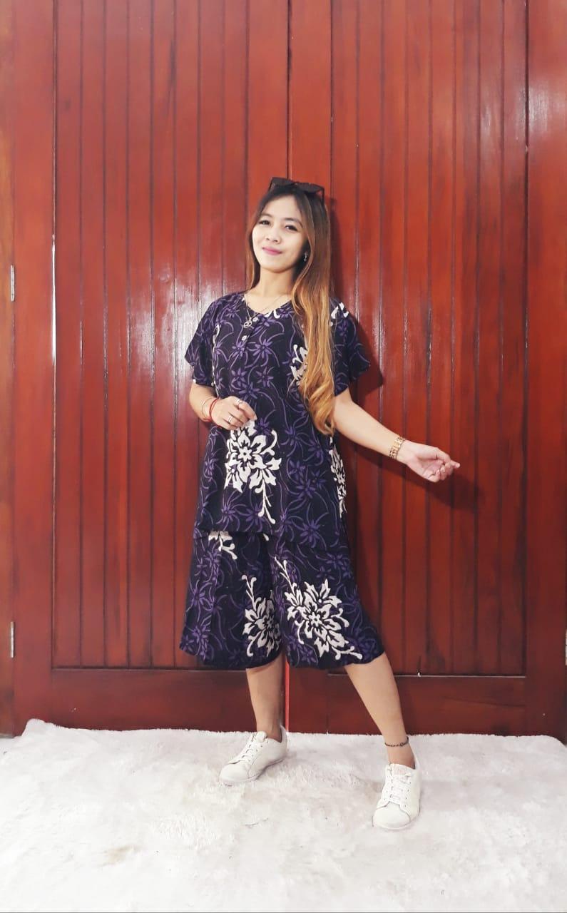 Setelan Kulot Pendek Batik Wanita Bahan Adem