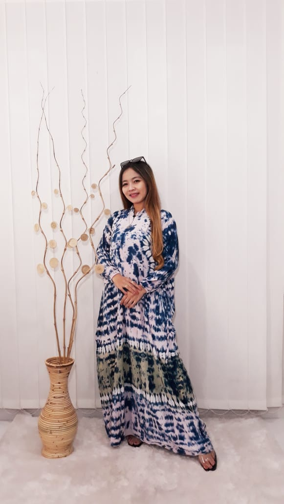 Baju Gamis Batik Jumputan Bahan Rayon Adem