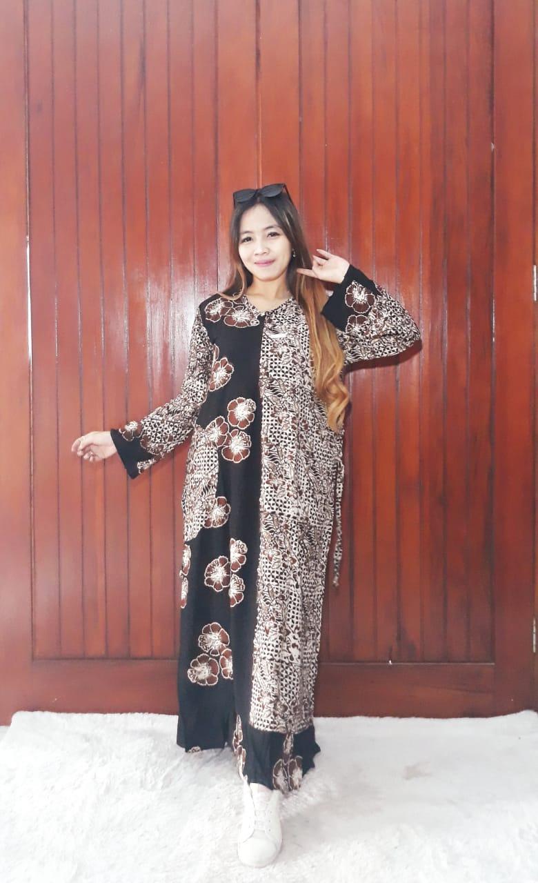 Baju Long Dress Batik Rempel Lengan Panjang
