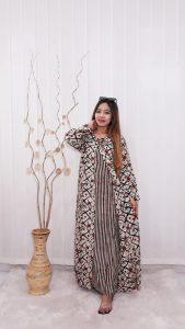 Baju Long Dress Cardigan Batik Gamis Panjang