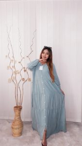 Baju Long Dress Gamis Panjang Polosan Warna