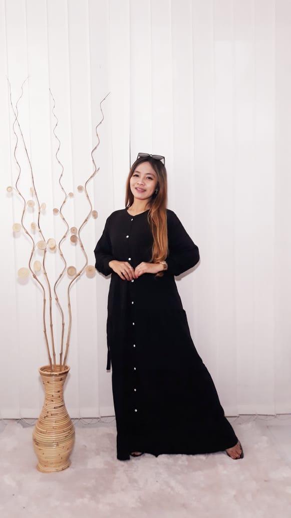 Baju Long Dress Gamis Panjang Polosan Warna