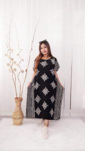 Daster Batik Kelelawar Lengan Pendek Warna Hitam