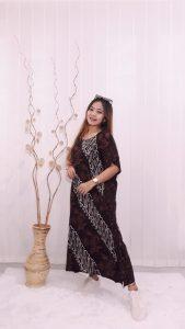 Daster Lengan Pendek Oblong Lowo Batik Sogan