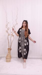 Daster Oblong Pendek Rayon Hitam Batik Ciprat