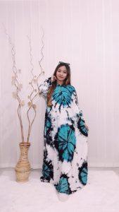 Gamis Santung Twil Jumbo Batik Jumputan Warna