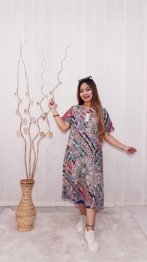 Home Dress Batik Modern Daster Kencana Ungu