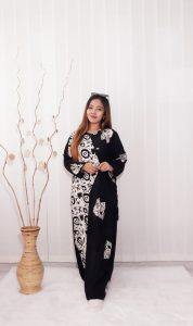 Long Dress Batik Hitam Panjang Bahan Rayon