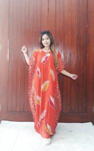 Long Dress Batik Lengan Pendek Warna Cendana