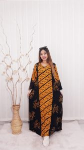 Long Dress Batik Oblong Lengan Panjang Rayon