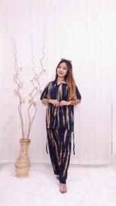 Piyama Batik Jumputan Wanita Panjang Lengan Pendek