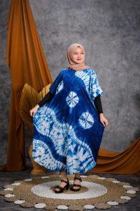 Baju Daster Batik Biru Indigo Tie Dye Lengan Pendek