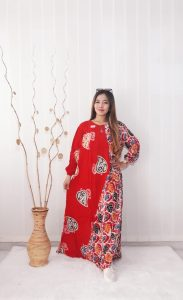 Baju Long Dress Batik Cantika Bahan Santung Super