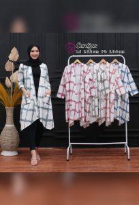 Baju Outer Batik Katun Model Shibori Lengan 3/4