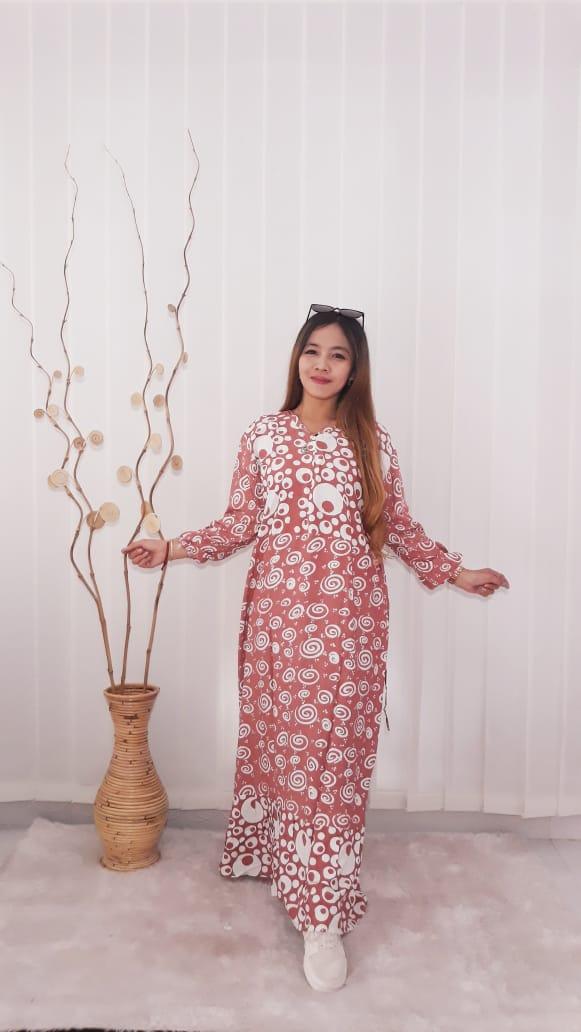 Long Dress Batik Warna Pastel Panjang Bahan Rayon