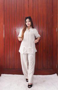 One Set Jumputan Polos Pendek Celana Rayon Panjang