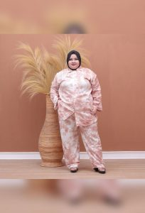 One Set Baju Setelan Batik Jumputan Tie Dye Jumbo Big Plus Size
