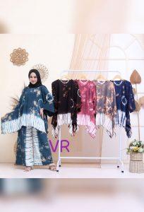 One Set Tie Dye Jumputan Model Sayap Oblong Bahan Santung Tebal