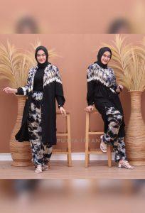 One Set Tunik Tie Dye Gradasi Bahan Rayon Super