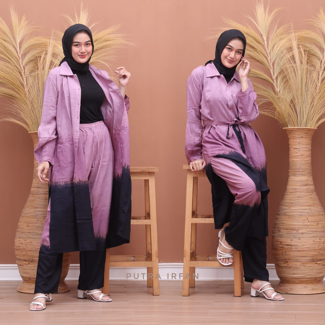 One Set Tunik Tie Dye Gradasi Bahan Rayon Super