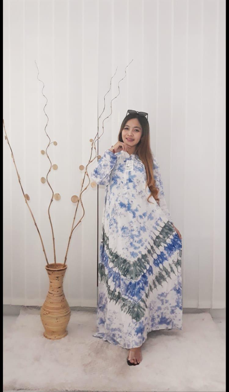 Baju Gamis Payung Batik Jumputan Bahan Rayon