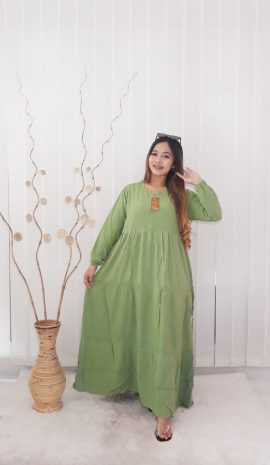 Baju Gamis Rayon Polos Model Payung Rempel