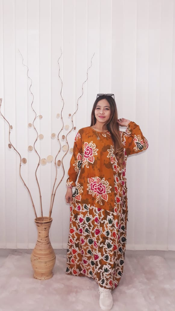 Baju Long Dress Gamis Batik Salma Bahan Santung