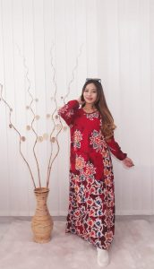 Baju Long Dress Gamis Batik Salma Bahan Santung