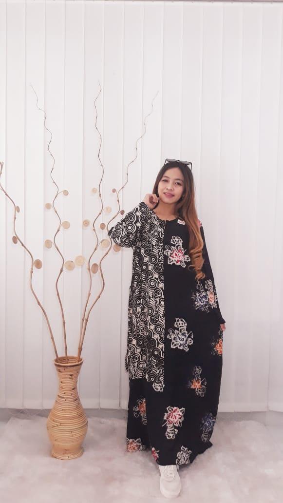 Baju Long Dress Gamis Hitam Kombinasi Batik Rayon