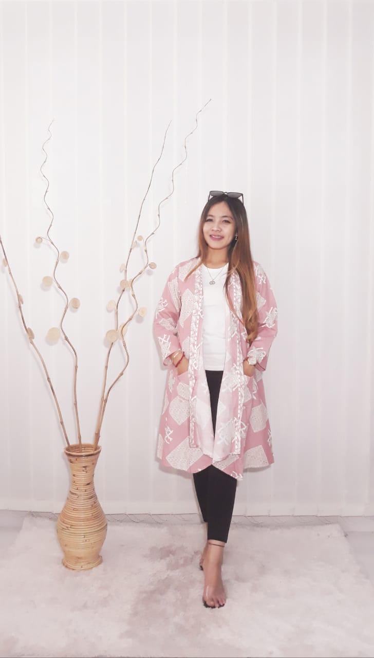 Baju Outer Batik Katun Simple Lengan 3/4