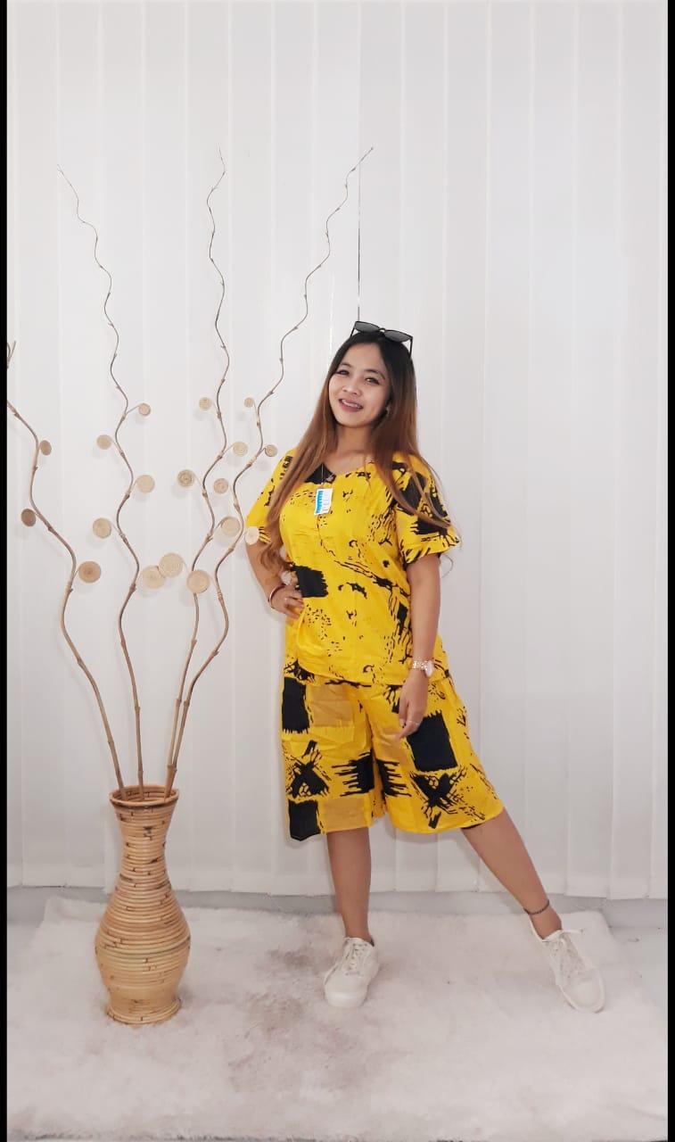 Baju Setelan Pendek Celana Batik Santung Print