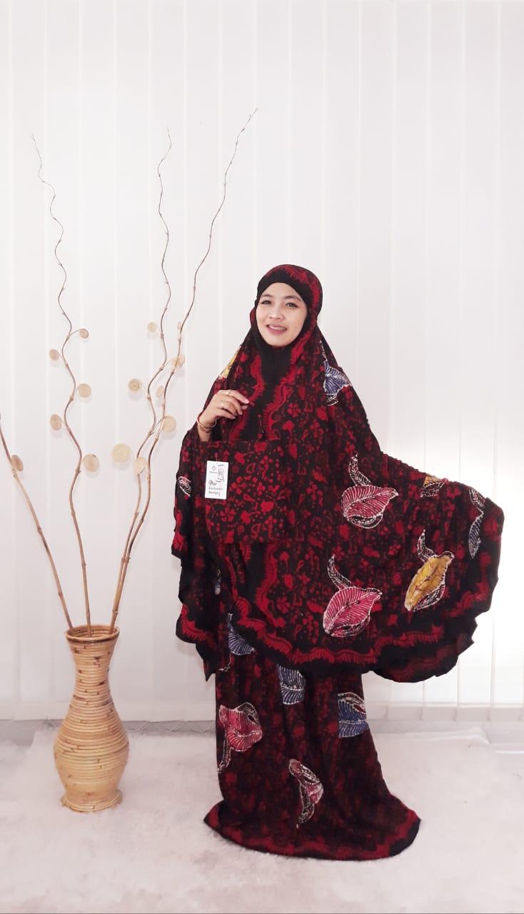 Mukena Batik Coletan Jumbo Bahan Rayon Super